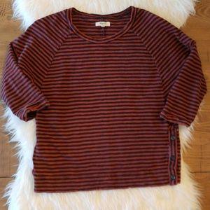 Madewell Side Button Striped Sweatshirt Top